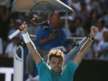 Stan Wawrinka celebrates winning his quarter-final match against Jo-Wilfried Tsonga. Reuters