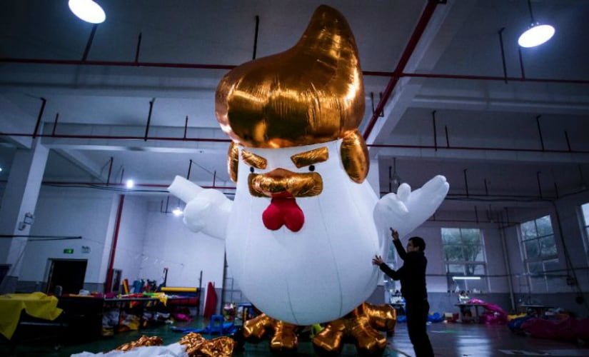 Donald Trump chickens manufactured by Chinese factory. AFP