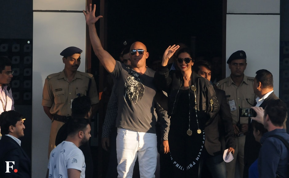 Vin Diesel and Deepika Padukone arrive at Kalina Airport, Santacruz, Mumbai. Sachin Gokhale/Firstpost