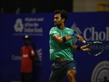 Yuki Bhambri in action at the Chennai Open. Image courtesy: Twitter/@chennaiopen