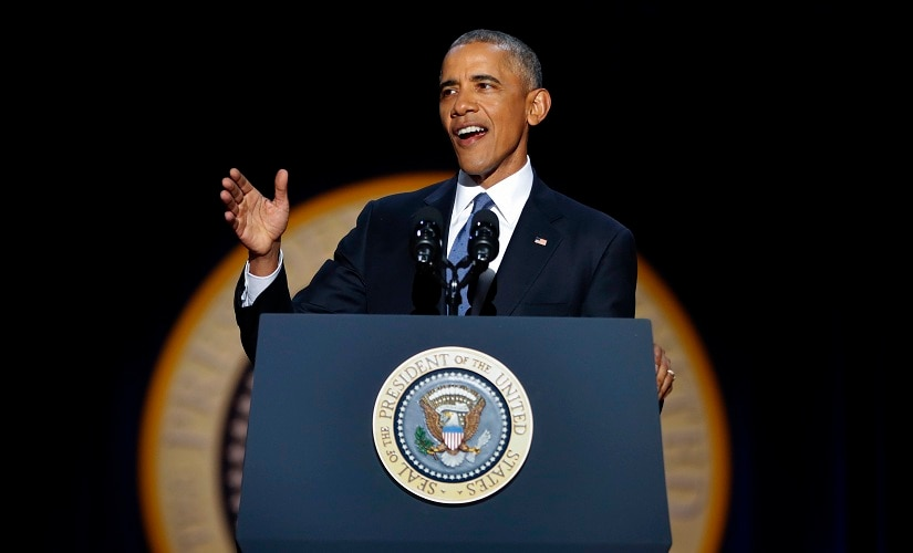 President Barack Obama speaks during his farewell address at McCormick Place. AP