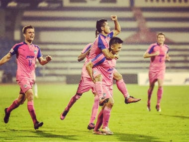 Bengaluru FC turned out in pink jerseys against Shillong Lajong. Image courtesy: Twitter/@bengalurufc