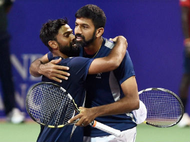 Bopanna and Nedunchezhiyan celebrate after defeating Raja and Sharan in the doubles final of Chennai Open 2017. PTI