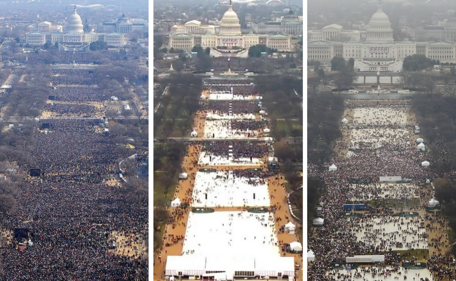 The crowd during Obama's inauguration, Trump's inauguration and the Women's march respectively paints an interesting picture of the current political climate. Image courtesy: Facebook/ianbremmer and Reuters