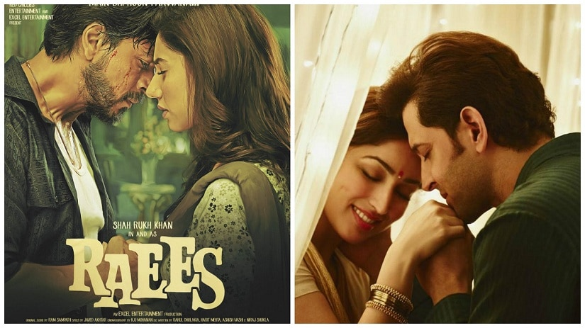 Shah Rukh Khan with Mahira Khan in 'Raees'; (R) Yami Gautam and Hrithik Roshan in 'Kaabil'
