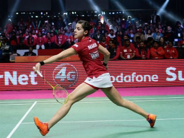 Hyderabad Hunters' Carolina Marin in action against Delhi Acers. Image courtesy: Twitter/@PBLIndiaLive