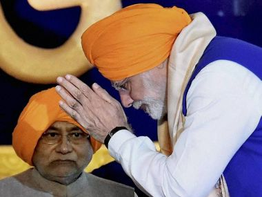 Prime Minister Narendra Modi and Bihar Chief Minister Nitish Kumar during 350th birth anniversary celebrations of Guru Gobind Singh at Gandhi Maidan in Patna on Thursday. PTI