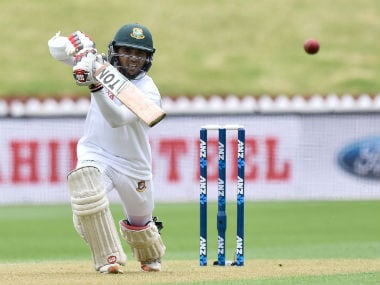 Bangladesh's Mominul Haque plays a shot during Day 1 of the 1st Test against New Zealand in Wellington. AFP
