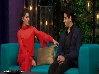 Jacqueline Feranandez and Siddharth Malhotra on Koffee with Karan Season 5. Hotstar