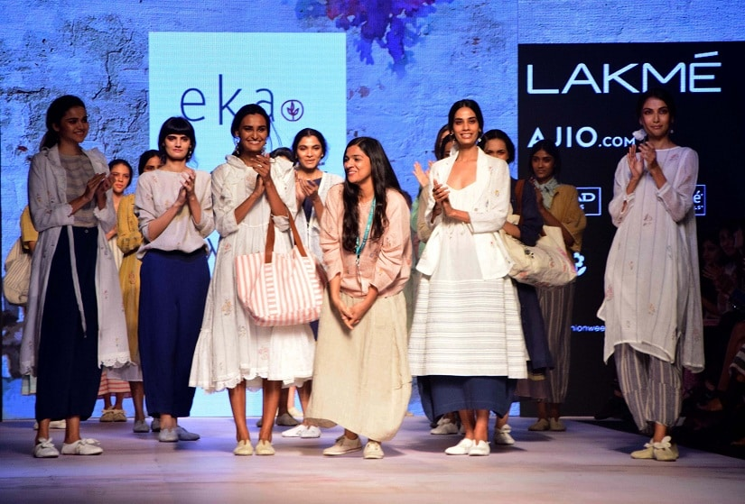 Fashion Designer Eka with models during her show at the Lakme Fashion Week Summer/Resort 2017 in Mumbai, India on February 1, 2017. (Sanket Shinde/ SOLARIS IMAGES)