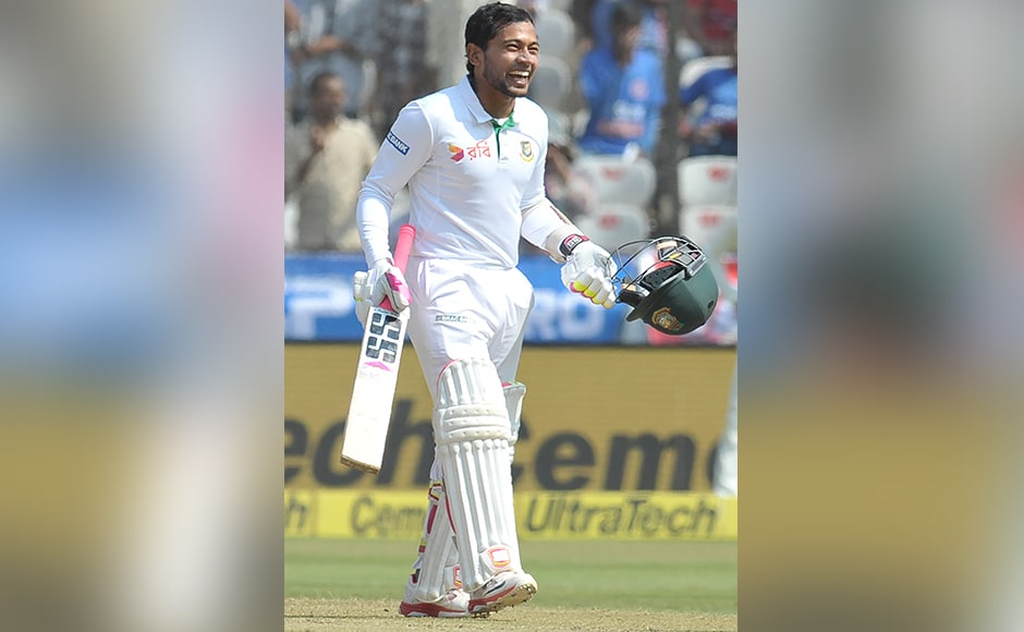 Bangladesh's captain Mushfiqur Rahim celebrates after scoring century (100 runs) on the fourth day of a solo Test match between India and Bangladesh at the Rajiv Gandhi International Cricket Stadium on February 12, 2017. IMAGE RESTRICTED TO EDITORIAL USE - STRICTLY NO COMMERCIAL USE----- / GETTYOUT