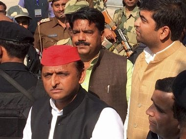 Akhilesh Yadav during 3rd phase of UP Assembly elections in Saifai in Etawah district on Sunday. PTI