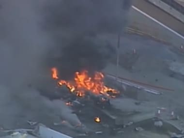 Footage of the wreckage burning. Image Courtesy: Youtube