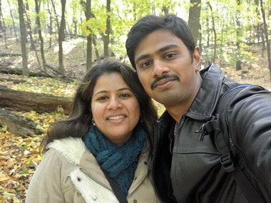 Srinivas Kuchibhotla, right, poses for photo with his wife Sunayana Dumala in Cedar Rapids, Iowa. AP