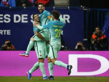 Barcelona ride on Luis Suarez, Messi masterclass in the first leg of the Copa del Rey. AP