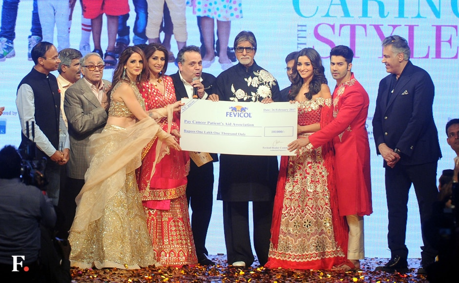 The celebrities who adorned the ramp announce the amount that will be donated for the tratement of children battling blood cancer. Sachin Gokhale/Firstpost
