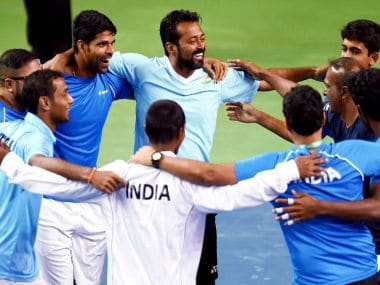 Indian team celebrates after their victory over New Zealand in the Davis Cup. PTI