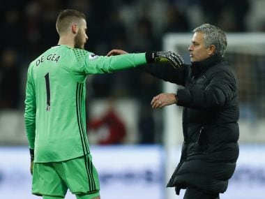 File image of Manchester United manager Jose Mourinho and David De Gea. Reuters