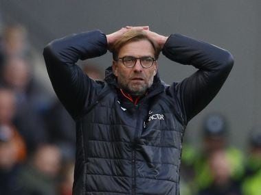 Liverpool manager Juergen Klopp looks dejected after the loss to Hull. Reuters