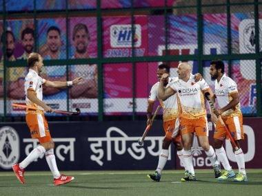 Kalinga Lancers players celebrate a goal against Dabang Mumbai.