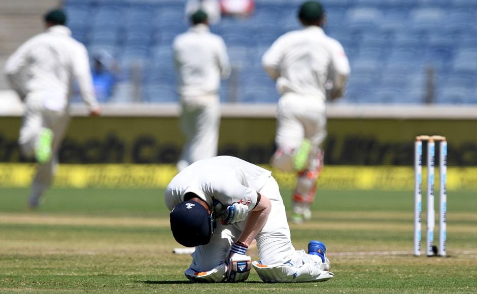 KL Rahul dismissed Australia Day 2 Pune
