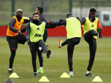 Manchester United players train ahead of their Europa League clash against Saint-Etienne. Reuters