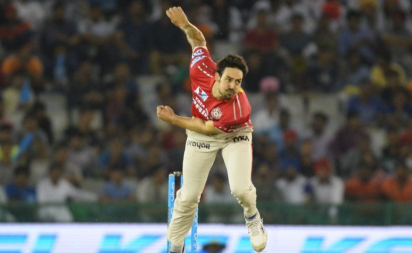 Mitchell Johnson bowls for the Kings XI Punjab during the 2016 Indian Premier League. AFP