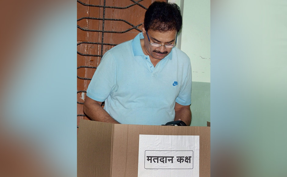 Former India Captain Dilip Vengsarkar casting his vote for Mumbai Corporation Election at Worli Sea Face in South Mumbai on Tuesday. PTI