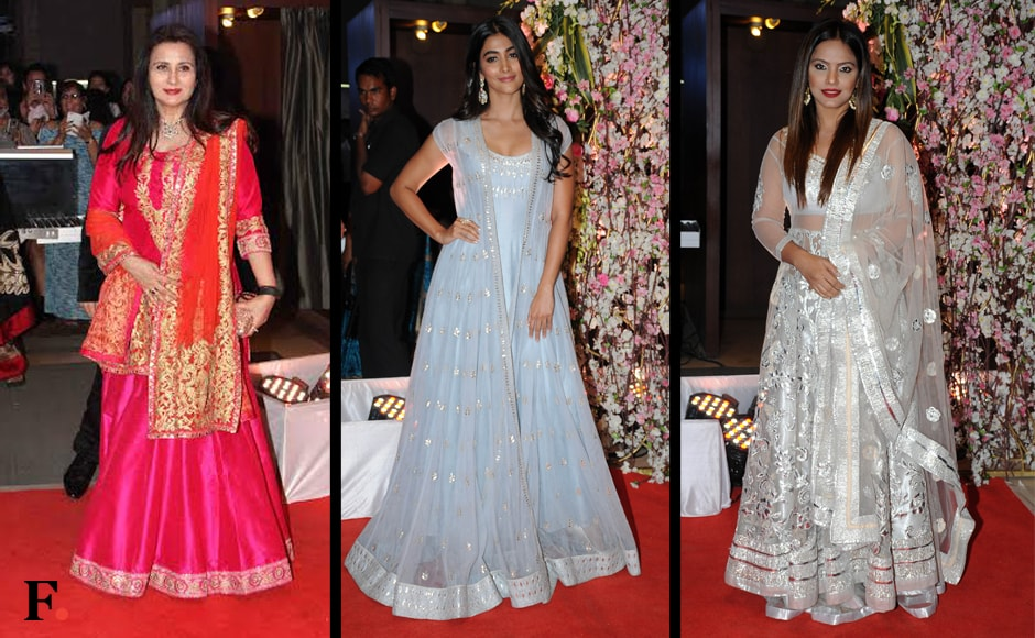 One also saw Poonam Dhillon, Pooja Hegde and Neetu Chandra. The bride and the groom wore complementary beautiful green royal outfits, designed by couturier Manav Gangwani. Image: Sachin Gokhale/Firstpost