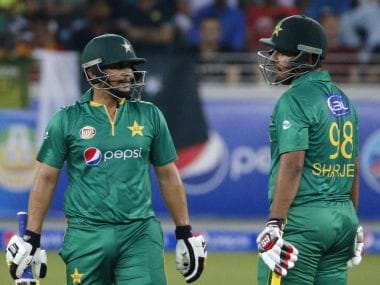 File image of Pakistan's Khalid Latif (L) and Sharjeel Khan. AFP