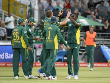 South Africa's team celebrates a wicket. AFP