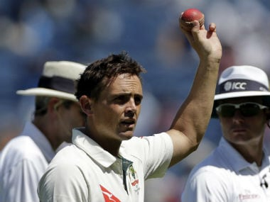 Steve O'Keefe recorded match figures of 12 for 70, the second-best by a visiting bowler in India behind Ian Botham. AP