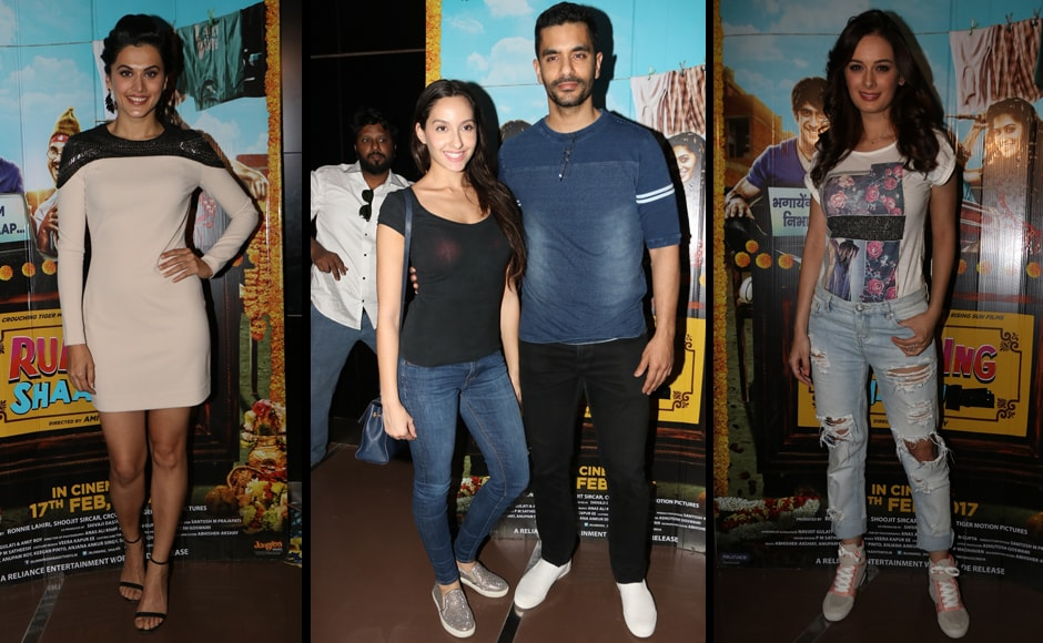 The team of Running Shaadi hosted a special screening of the film in Mumbai on Wednesday evening, 15 February. The film's leading lady Tapsee Pannu is seen here with Nora Fatehi and Angad Bedi, followed by Evelyn Sharma.