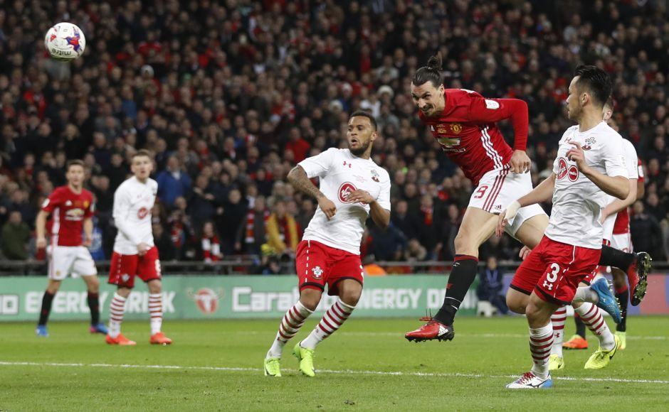 """Britain Soccer Football - Southampton v Manchester United - EFL Cup Final - Wembley Stadium - 26/2/17 Manchester United's Zlatan Ibrahimovic scores their third goal Action Images via Reuters / Carl Recine Livepic EDITORIAL USE ONLY. No use with unauthorized audio, video, data, fixture lists, club/league logos or """"live"""" services. Online in-match use limited to 45 images, no video emulation. No use in betting, games or single club/league/player publications. Please contact your account representative for further details. - RTS10FBB"""