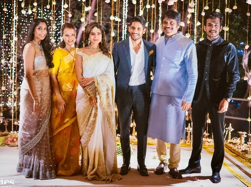 Shriya, Amala, Samantha, Chaitanya, Nagarjuna and Akhil at Samantha and Chaitanya's engagement in January 2017. Image courtesy Twitter