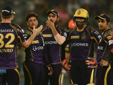 Kolkata Knight Riders players celebrate a wicket against Sunrisers Hyderabad in a match in IPL 2016. AFP