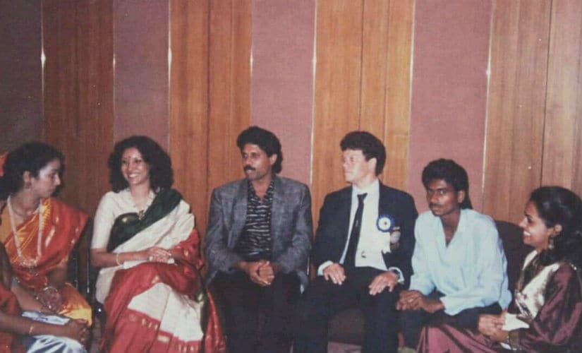 Maxwell Trevor with Kapil Dev at an awards function in Hyderabad. Image courtesy: Maxwell Trevor