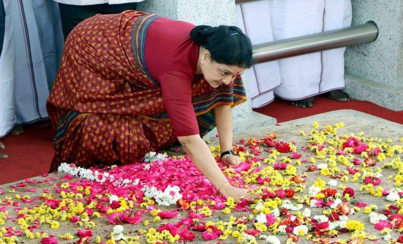 VK Sasikala at Jaya memorial on Wednesday. PTI