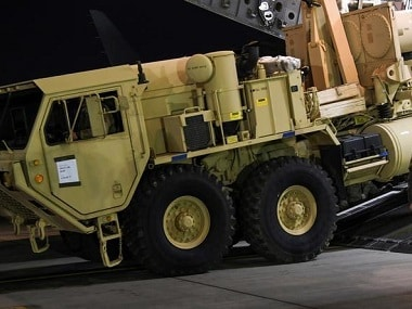 A Terminal High Altitude Area Defense (THAAD) interceptor arrives at Osan Air Base in South Korea. Reuters