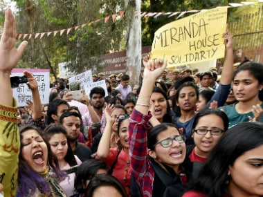 Students during the protest against ABVP in North Campus of New Delhi. PTI