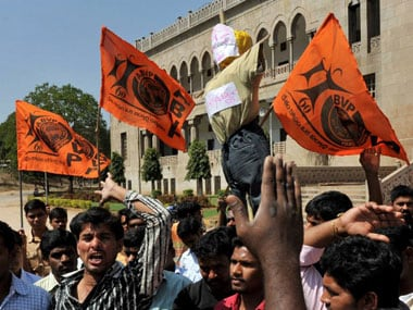 ABVP activists stage protest in Delhi to demand sacking of NSUI leader accused of molesting girl in Chhattisgarh