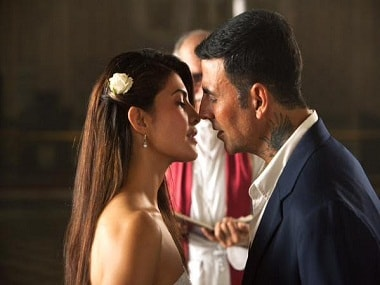 Jacqueline Fernandez and Akshay Kumar in a still from Brothers. YouTube