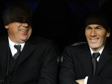 Carlo Ancelotti (L) and Zinedine Zidane in 2014. AFP