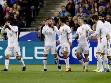 Spain's Gerard Deulofeu, fourth left, celebrates scoring with his teammates. AP