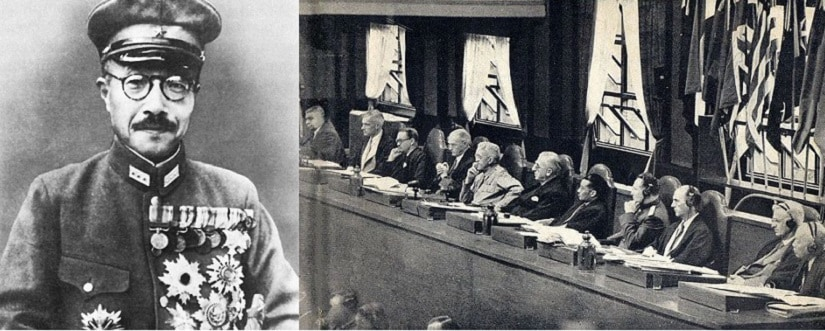 (L-R) General Tojo. The Panel of Judges during the Tokyo Trials. Image courtesy: Wikimedia Commons.