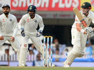 Australian batsman Matthew Renshaw plays a shot during the Ranchi Test. AFP