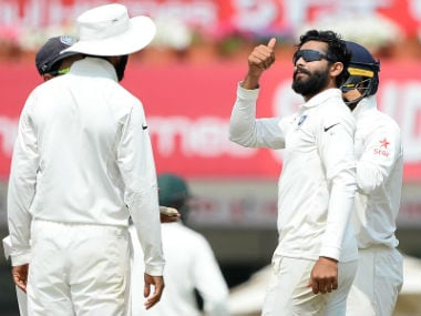 Ravindra Jadeja celebrates with teammates after dismissing Nathan Lyon on Day 2 of the 3rd Test against Australia in Ranchi. AFP
