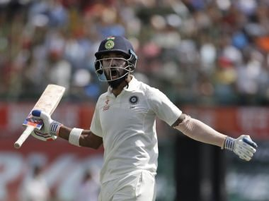 India's Lokesh Rahul celebrates after winning their fourth Test match against Australia. AP