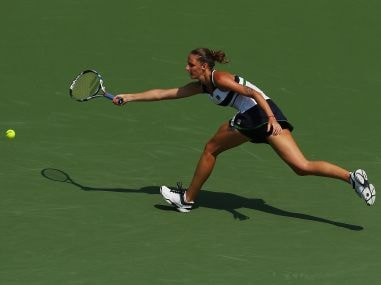 Karolina Pliskova returns a shot at the Miami Open. Getty
