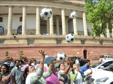Watch: MPs play football outside Parliament to promote U-17 Fifa World Cup 2017